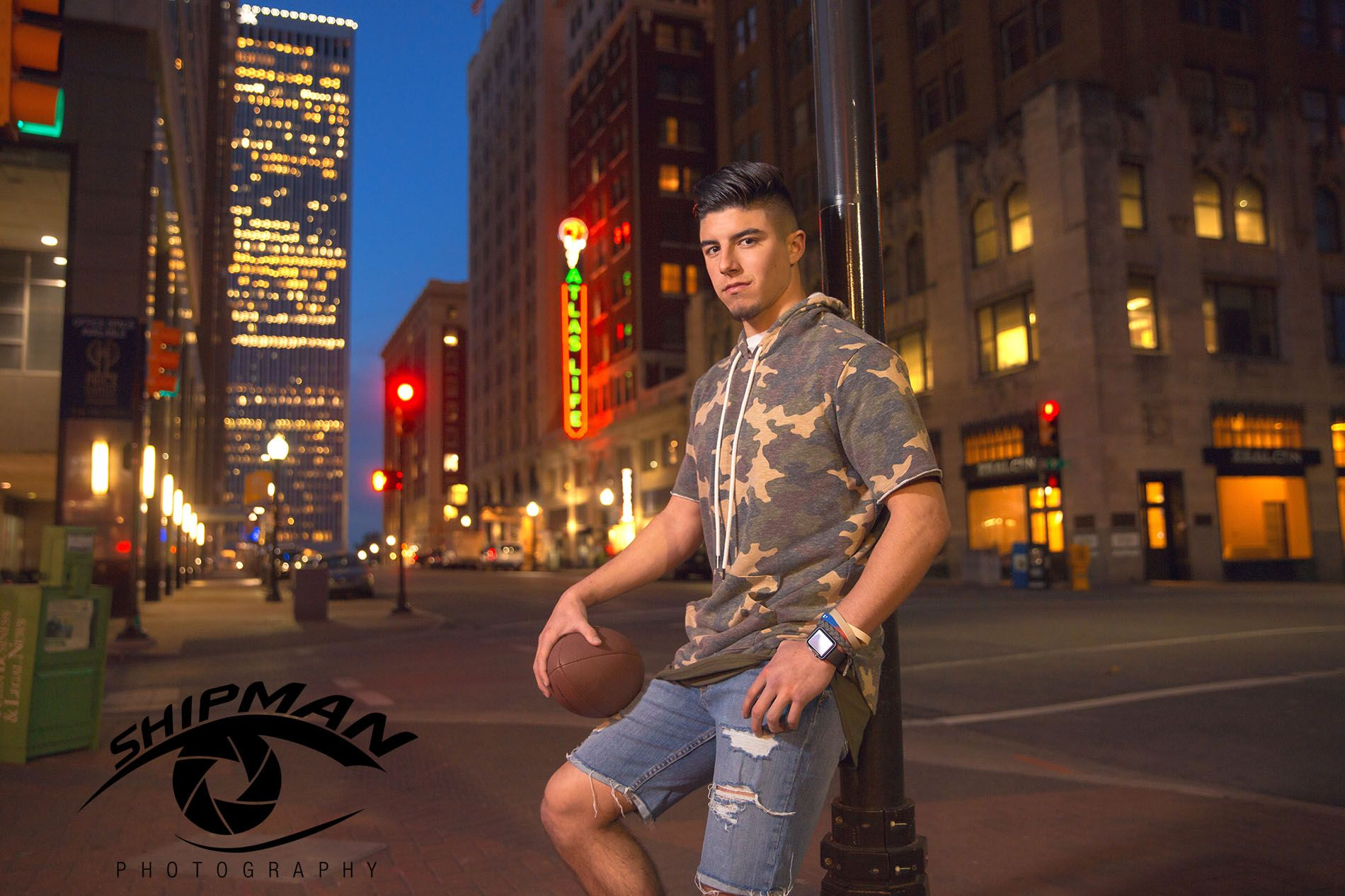 senior portrait football player downtown Tulsa