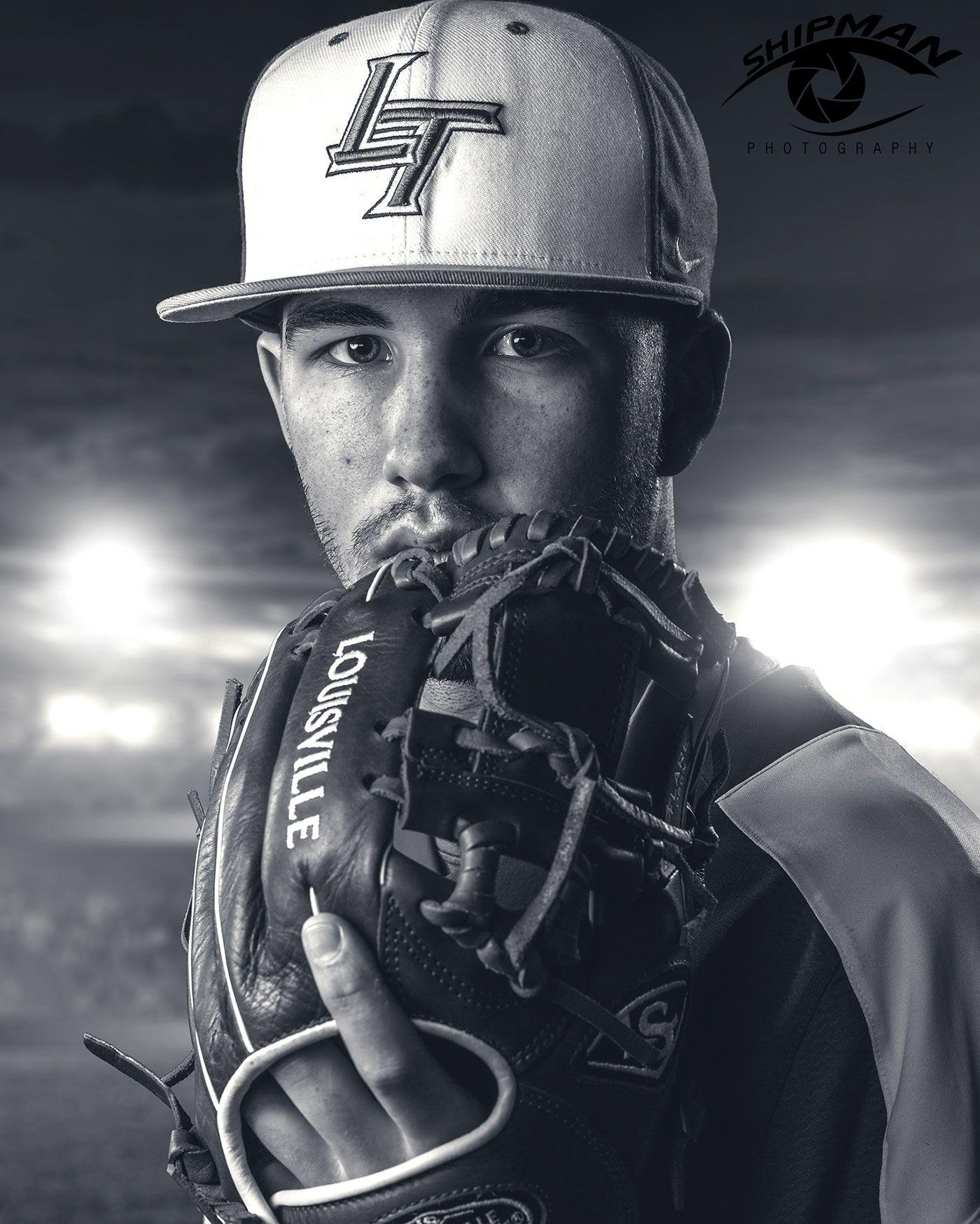 composite senior portrait of a baseball pitcher