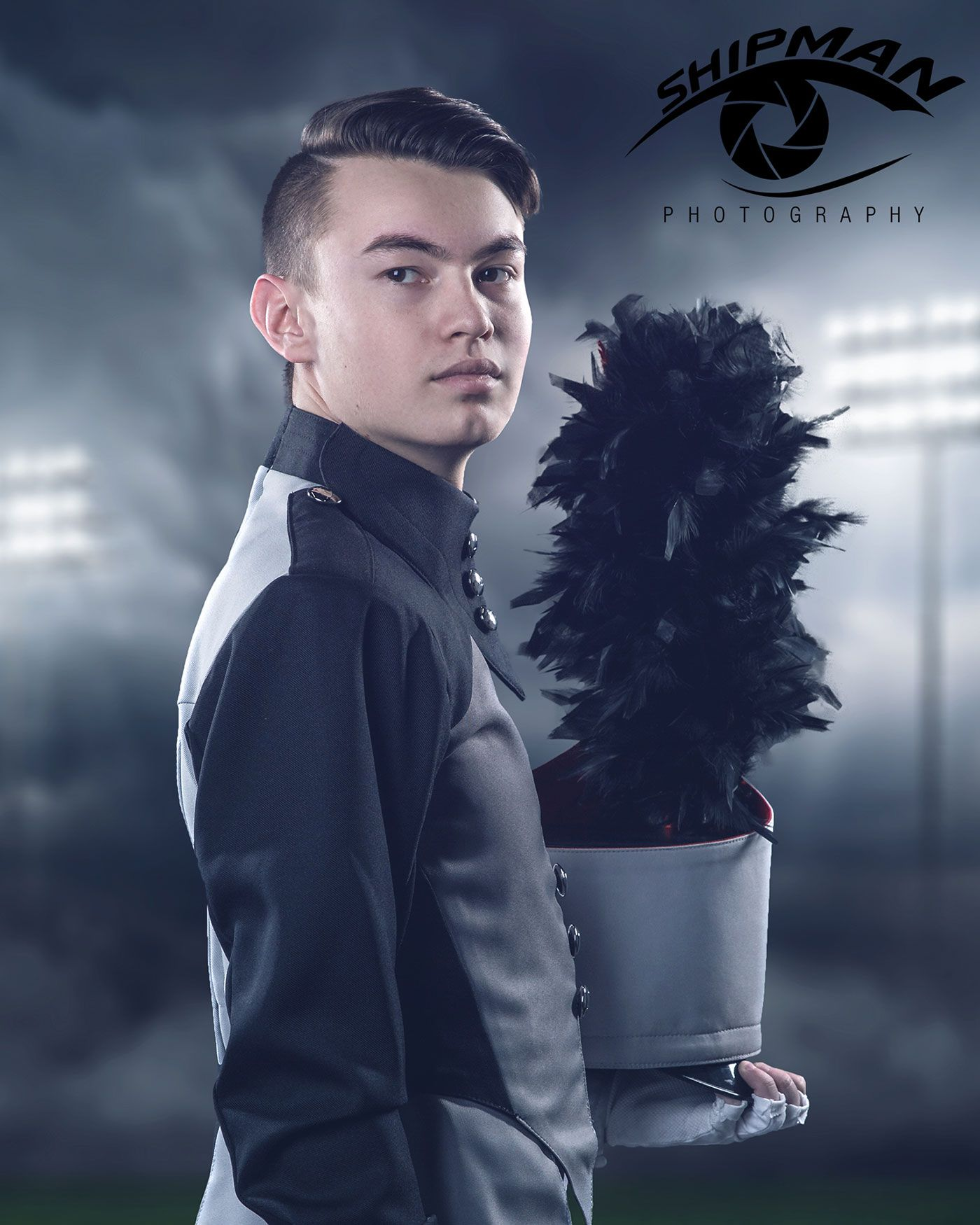 composite senior portrait of marching band boy