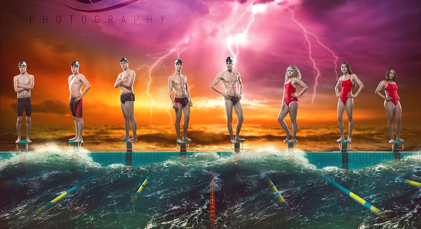 composite senior poster of owasso swim team