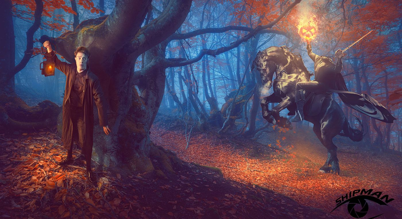 Ichabod and horseman in the dark woods. composite art