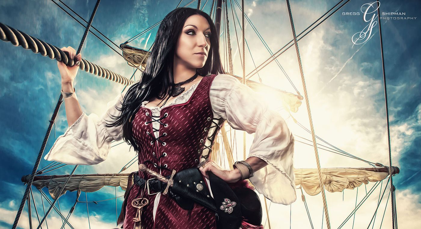 Female pirate captain on her ship