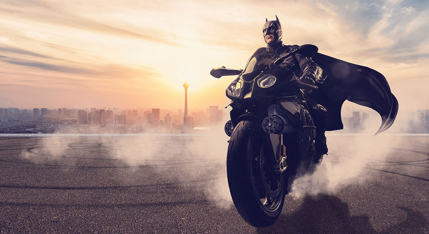 Batman on a motorcycle composite photograph fan art