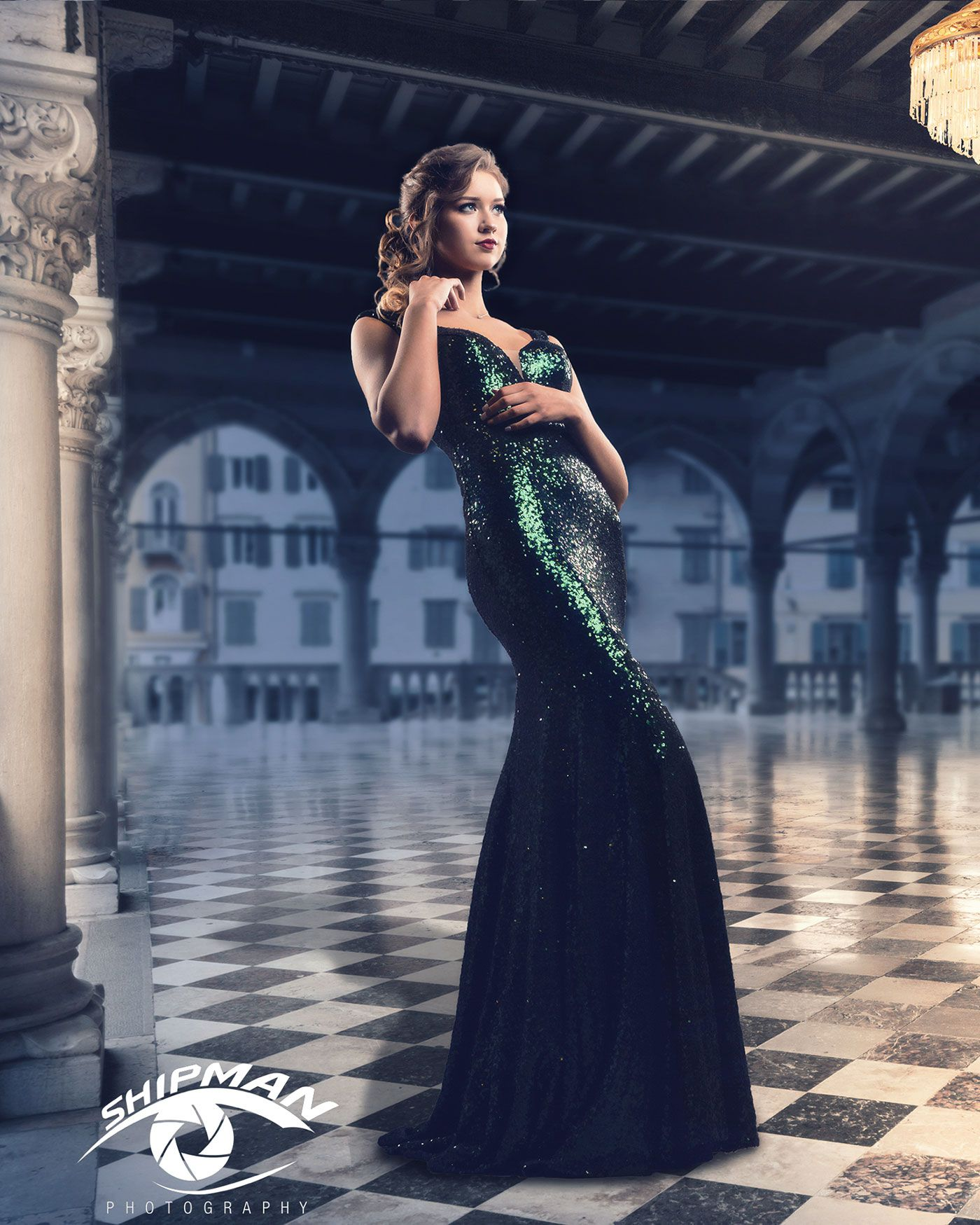 composite photo of a senior portrait girl in a fancy ballroom setting.