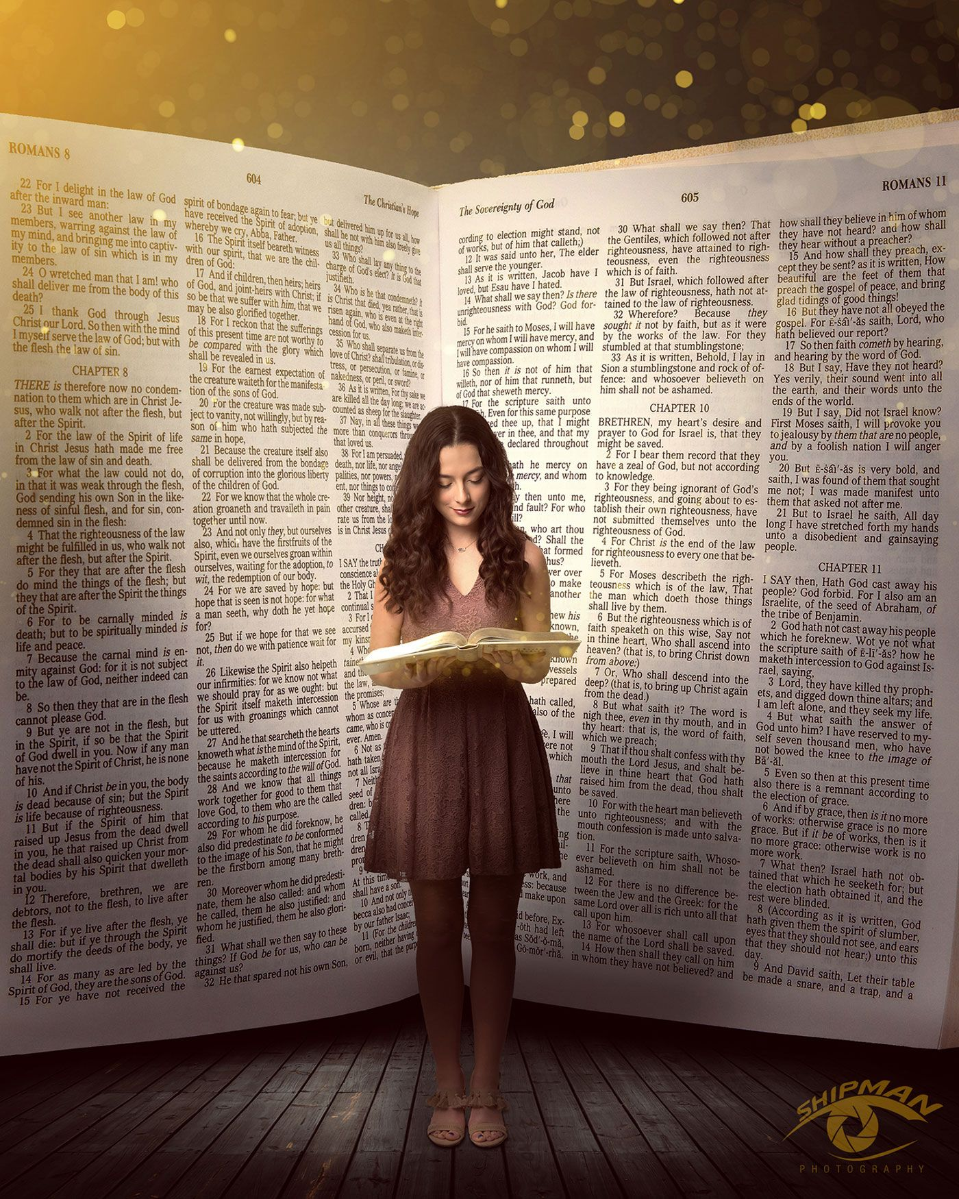 Young woman standing in front of a bible for senior portrait