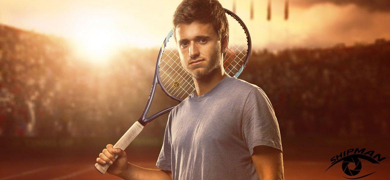 Custom senior portrait of a Tennis athlete.