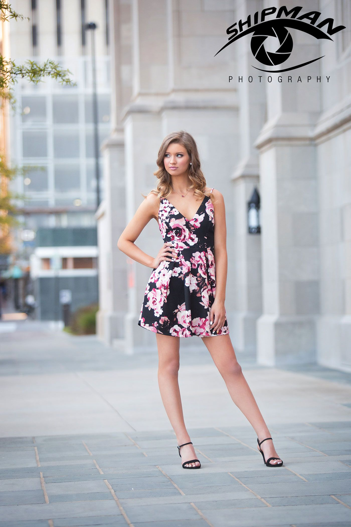 natural light senior portrait, downtown tulsa