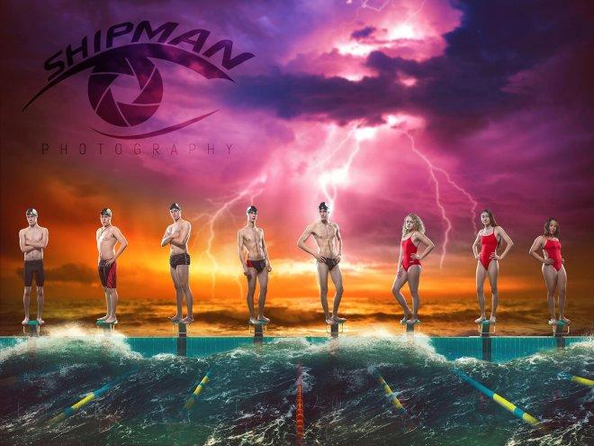 Tulsa athletes senior poster swim team