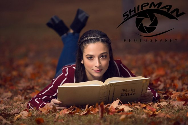 bible girl park fall leaves senior portrait