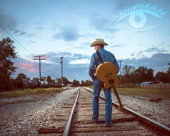 train tracks senior portrait guitar guy