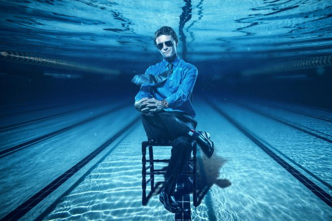 under water senior portrait Tulsa swimmer guy composite