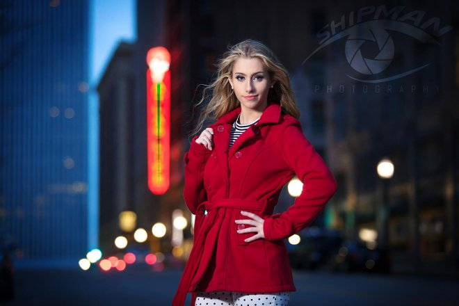 Bixby girl senior portrait downtown Tulsa
