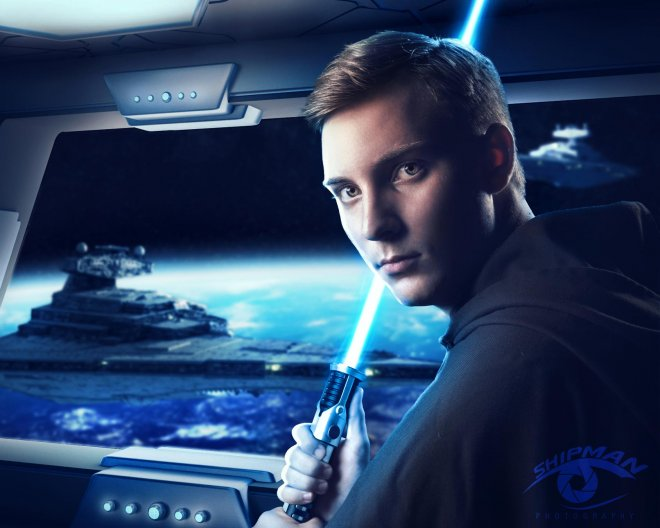 senior portrait Bixby guy composite star wars