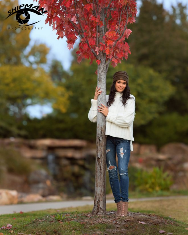 fall centennial park tulsa bixby girl senior portrait