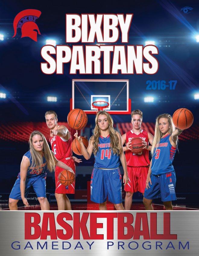 bixby spartan basketball program cover