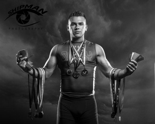 Bixby Track senior portraits medals