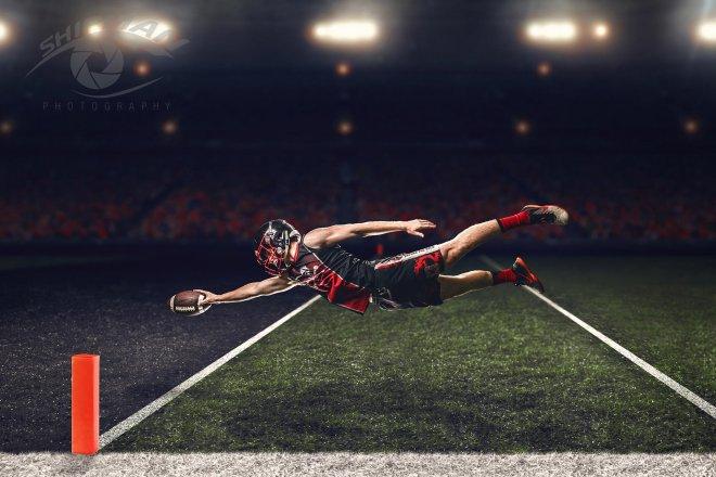 locust grove senior portrait football player composite photo