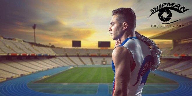composite photography of senior portrait track athlete bixby
