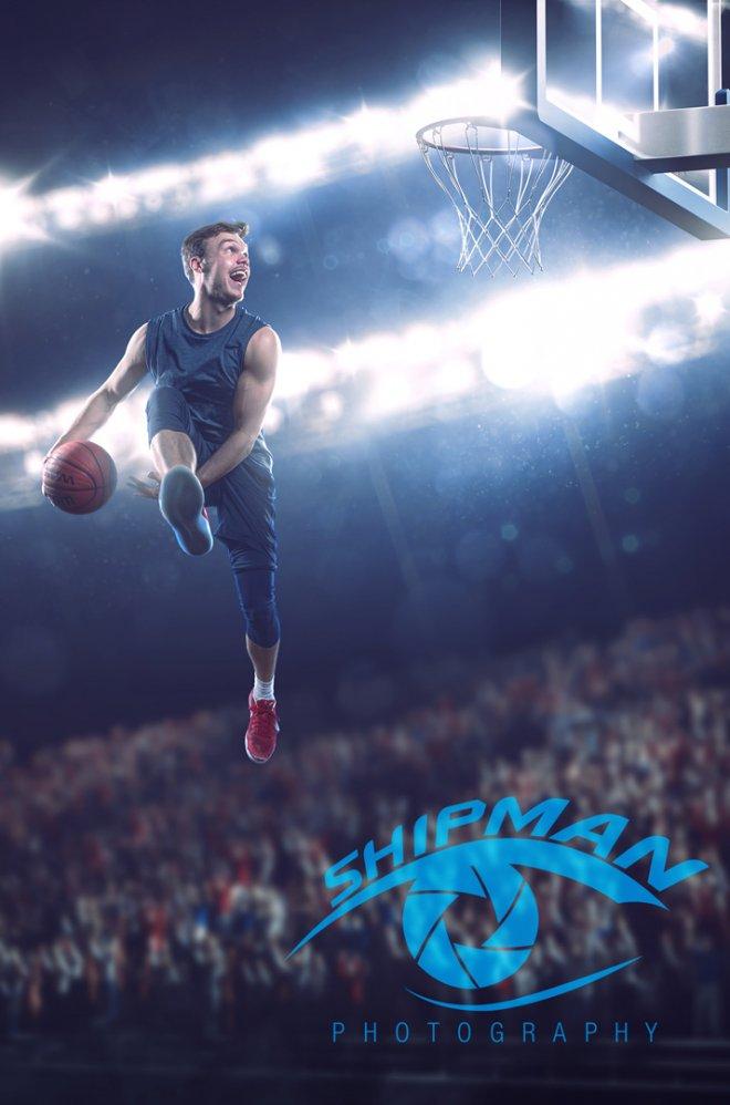Bixby basketball senior portrait action shot composite photography