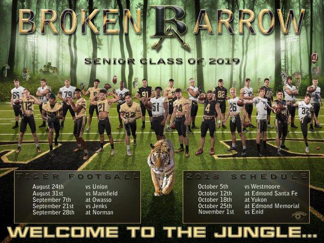 Broken Arrow Tiger football senior poster banner 2018