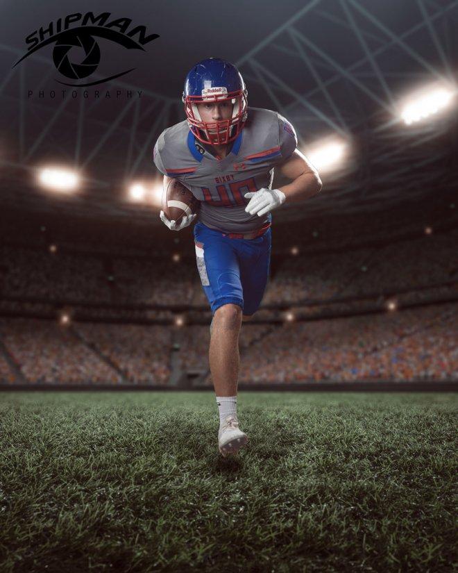 bixby football player senior portrait scene