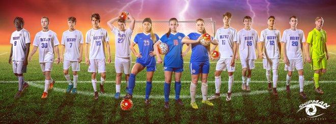 Bixby soccer senior poster banner photograph