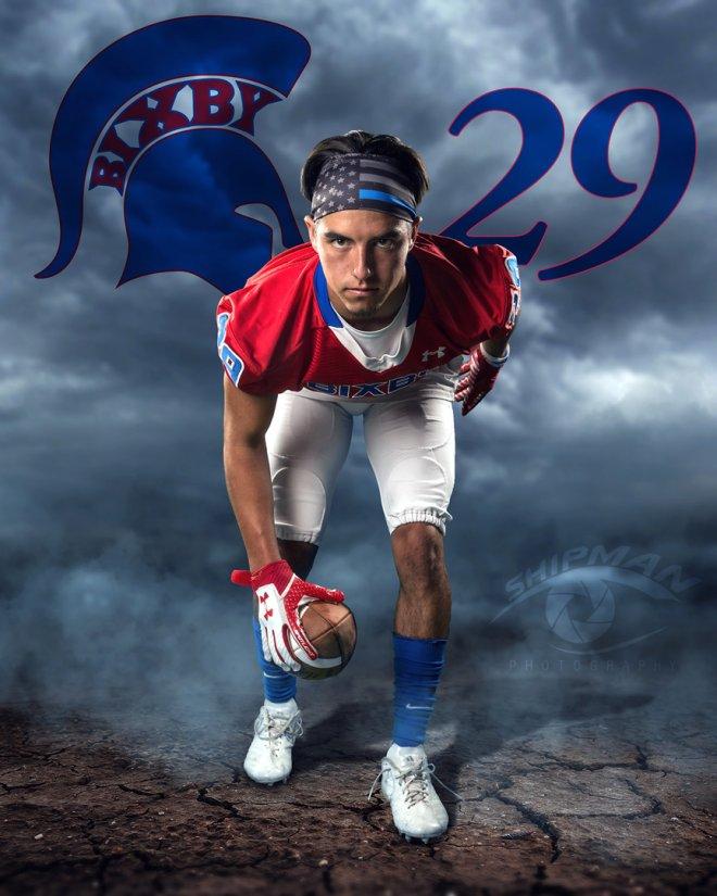 Bixby football player senior portrait poster photograph
