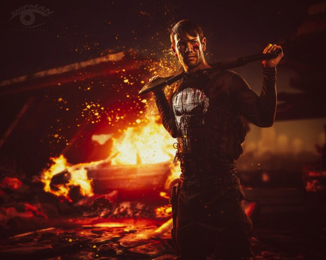 Composite photography fan art punisher series commercial advertising
