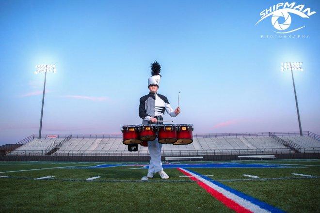 senior boy bixby marching band
