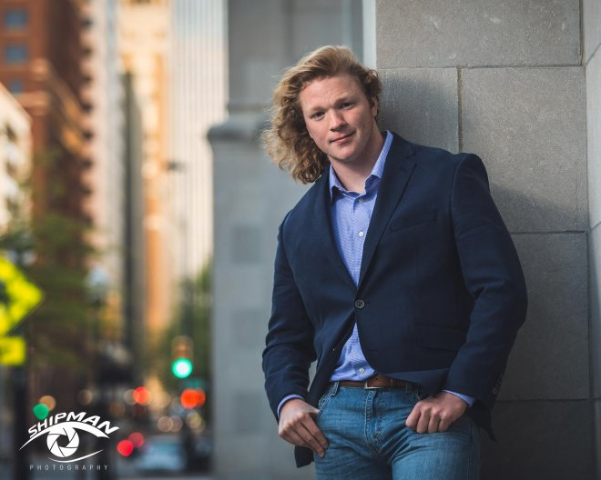 senior picture bixby boy downtown