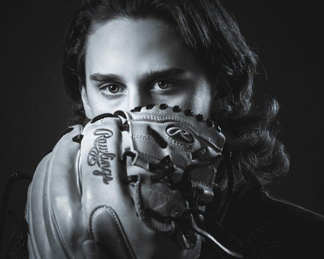 Baseball player glove senior pic